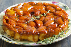 Summer pie with peaches and thyme. Royalty Free Stock Image
