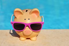Summer piggy bank Stock Photos