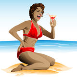 Summer pin up with cocktail Royalty Free Stock Images