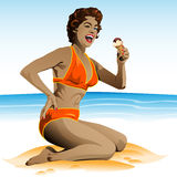 Summer pin up with ice cream. Illustration summer pin up with ice cream Royalty Free Stock Images