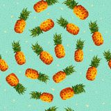 Summer pineapple background in low poly art