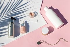 Summer pink cosmetics flat lay . Top view beauty composition. Background Stock Photography