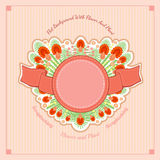 Summer pink floral vector background. Abstract plants in center - leaves of fern, flowers of clove, berry Stock Images
