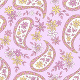 Summer Pink Paisley Floral Textile Pattern. Stock Image