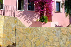 Summer pink resort house Royalty Free Stock Photo