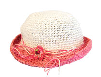 Summer pink straw hat Stock Images