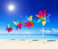 Summer Pinwheels Beach Island Sand Concept Royalty Free Stock Image