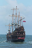 Summer pirate cruise ship. On the open sea Royalty Free Stock Photo