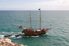 Summer pirate cruise ship. On the open sea Stock Images