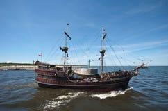 Summer pirate cruise ship. On the open sea stock photos
