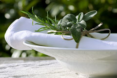 Summer place setting with sage Royalty Free Stock Image