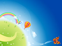 Summer planet. With a rainbow and balloons Royalty Free Stock Photo