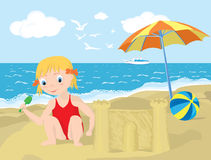 Summer playground. Kid playing on the beach. Vector/EPS8 Stock Images