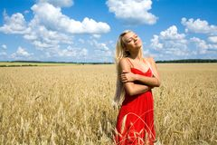 Summer pleasure. Photo of charming female in red dress standing in wheat field Royalty Free Stock Images
