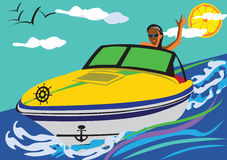 Summer pleasures. Abstract vector illustration of a girl driving a motor-boat smiling and swaying to as with her hand. The sky is light blue with the clouds Stock Photo