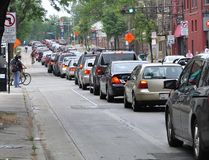 Summer plus Construction equal Traffic Jams. Traffic jam in downtown Madison due to rebuilding Johnson street.  Bicycles are going faster than the cars Royalty Free Stock Photos