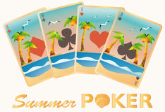 Summer poker cards, Royalty Free Stock Photo