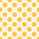 Summer polka dot seamless pattern with yellow flowers. Vector. Summer polka dot seamless pattern with yellow flowers.  Abstract floral background. Vector Royalty Free Stock Photography