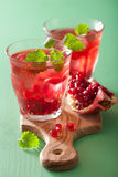 Summer pomegranate drink with melissa Royalty Free Stock Images