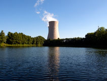 Summer pond against nuclear plant Royalty Free Stock Images