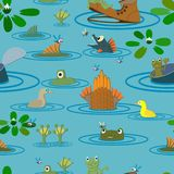 Summer pond with frogs, fish and flowers. Seamless. Stock Images