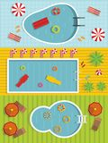 Summer pool banner horizontal set, flat style royalty free illustration