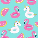 Summer pool floating with flamingo and unicorn. Seamless pattern. Vector illustration Stock Photos