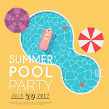 Summer pool party invitation. Flyer or banner template. Flat des Royalty Free Stock Photography