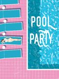 Summer pool party invitation poster, flyer vector template with vintage swimming pool, sexy woman sunbathing and sunbeds Stock Image