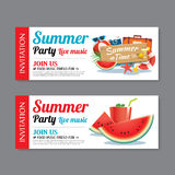 Summer pool party invitation ticket background Stock Images