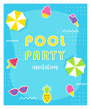 Summer Pool Party Poster or Invitation Card. Stock Images