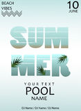 Summer pool party.Poster template.Vector illustration Stock Photography