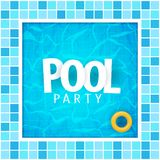 Summer pool party poster template. Water and palms, inflatable yellow mattress. Vector illustration. royalty free stock photo