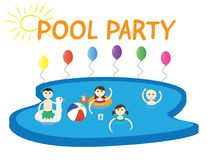 Summer pool party banner with white background and colorful balloons. Summer pool party Vector illustration. four kids boys and girls in a swimming pool, the Royalty Free Stock Photo
