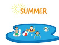 Summer pool party banner with white background. Summer pool party Vector illustration. four kids in a swimming pool, the word SUMMER and a sun, isolated on white Royalty Free Stock Image