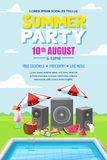 Summer pool party, vector poster, banner layout. Music loudspeakers, cocktails near swimming pool. Fun holiday and events background stock illustration