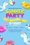 Summer pool party, vector poster, banner layout. Unicorn, flamingo, duck, ball, donut cute floats in water. Fun holiday background vector illustration