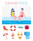 Summer Pool Poster with Icons Vector Illustration royalty free illustration