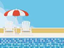 Summer Pool Scene background with copy space. Summer scene with deckchairs and parasol at poolside. Flat design. Copy Space vector illustration
