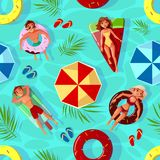 Summer pool seamless pattern vector illustration stock illustration