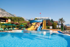 Summer pool and water slides stock image