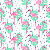 Summer pop art flamingo and palm tropic branches seamless pattern. Stock Photos