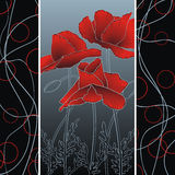 Summer poppies on abstract strips. Summer flowering red poppies on abstract strip background royalty free illustration