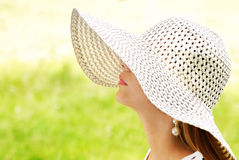 Summer portrait. Of beautiful woman wearing hat Stock Photo