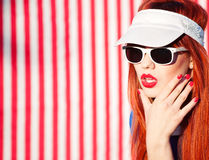 Summer portrait. Of woman wearing sunglasses stock photo