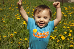 Summer portrait of beautiful baby boy royalty free stock photo