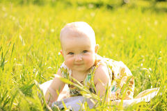 Summer portrait of beautiful baby girl Royalty Free Stock Photos
