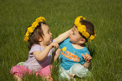 Summer portrait of beautiful baby twins royalty free stock images