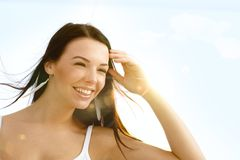 Summer portrait of beautiful girl smiling Stock Images