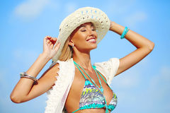 Summer portrait of beautiful woman enjoying nature freedom Stock Photos